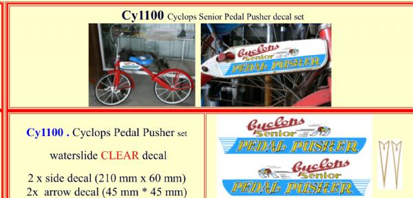 CY1100 Cyclops Senior Pedal Pusher decal set